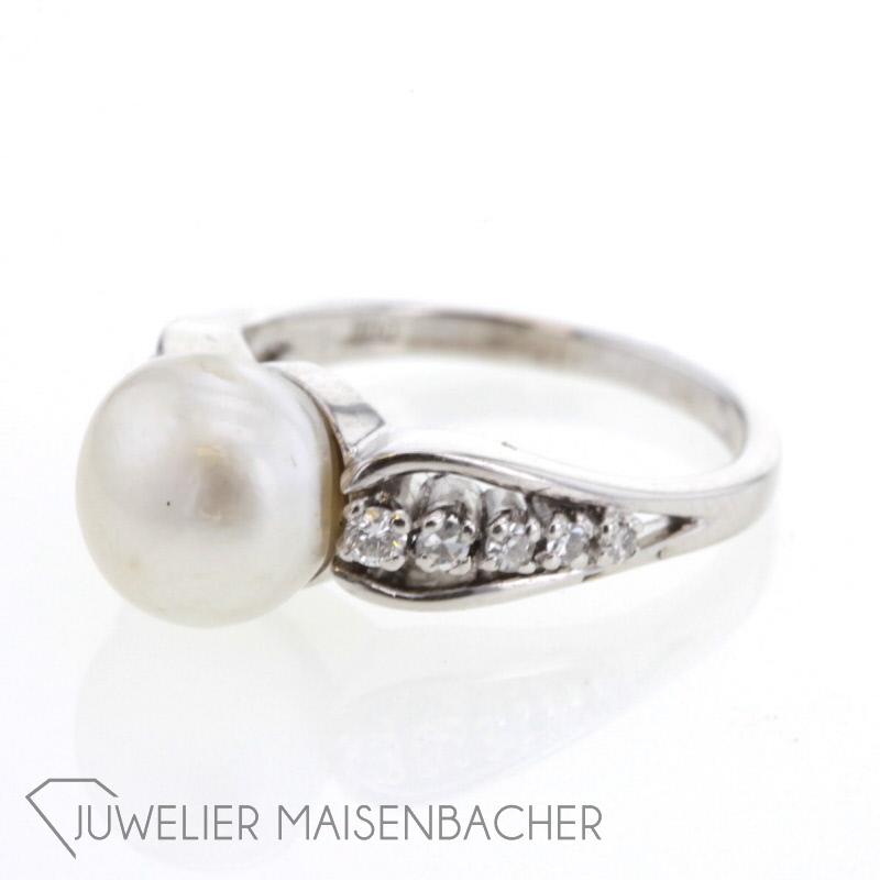 silberring mit perle diamanten jetzt online kaufen. Black Bedroom Furniture Sets. Home Design Ideas