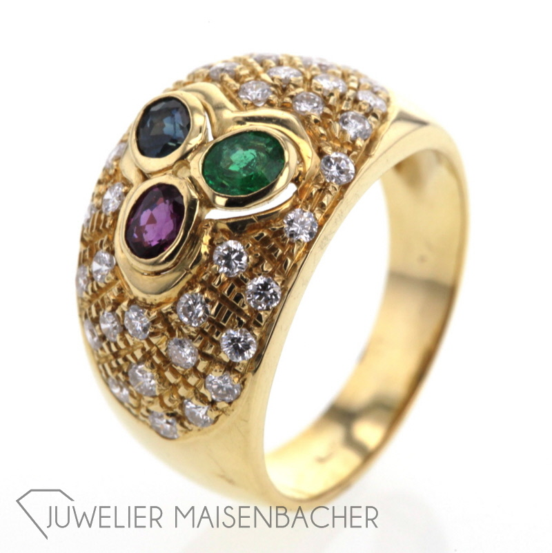 Goldring mit Saphir Smaragd und Rubin JETZT online kaufen