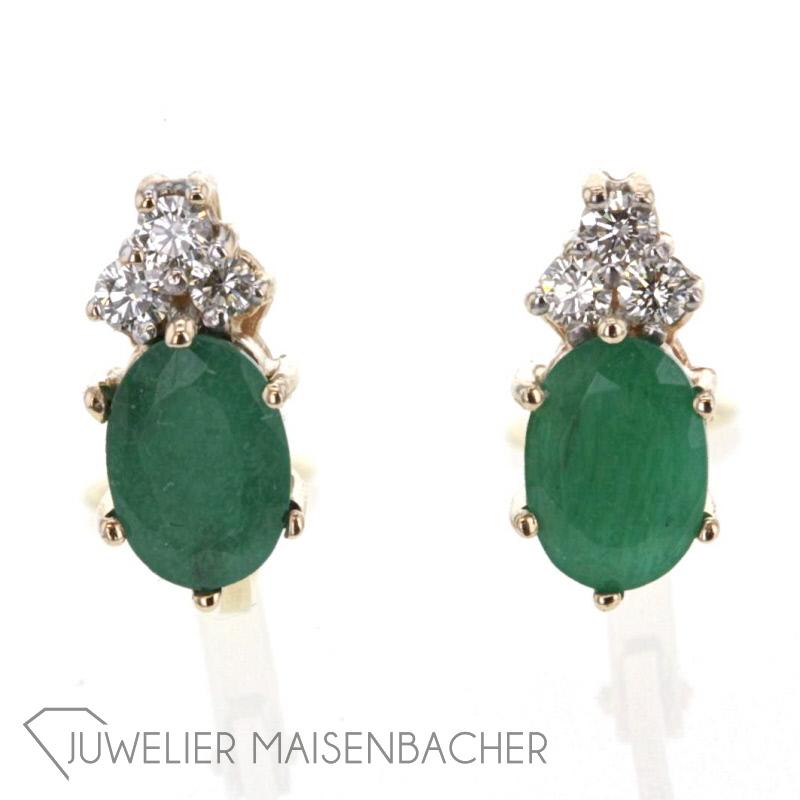 ohrclips smaragd diamanten jetzt online kaufen juwelier maisenbacher. Black Bedroom Furniture Sets. Home Design Ideas